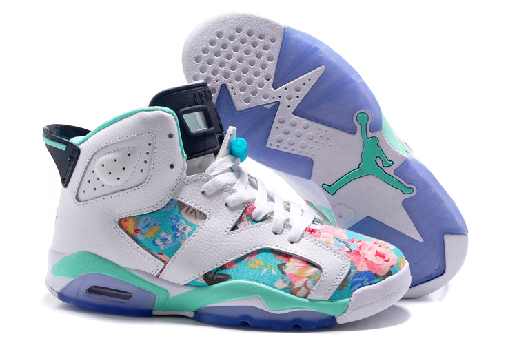 ЖЕНЩИНЫ Air Jordan 6 GS Floral Custom белый Turquoise продажа In Girls Size